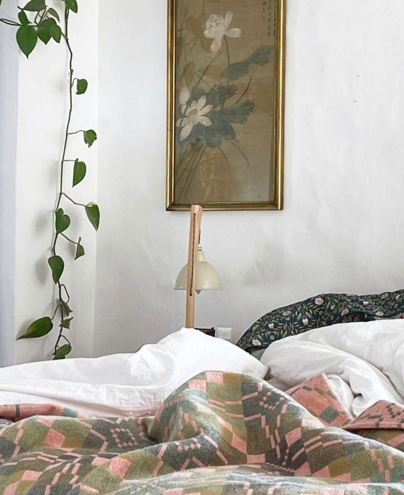 master bedroom climbing plants vintage artwork