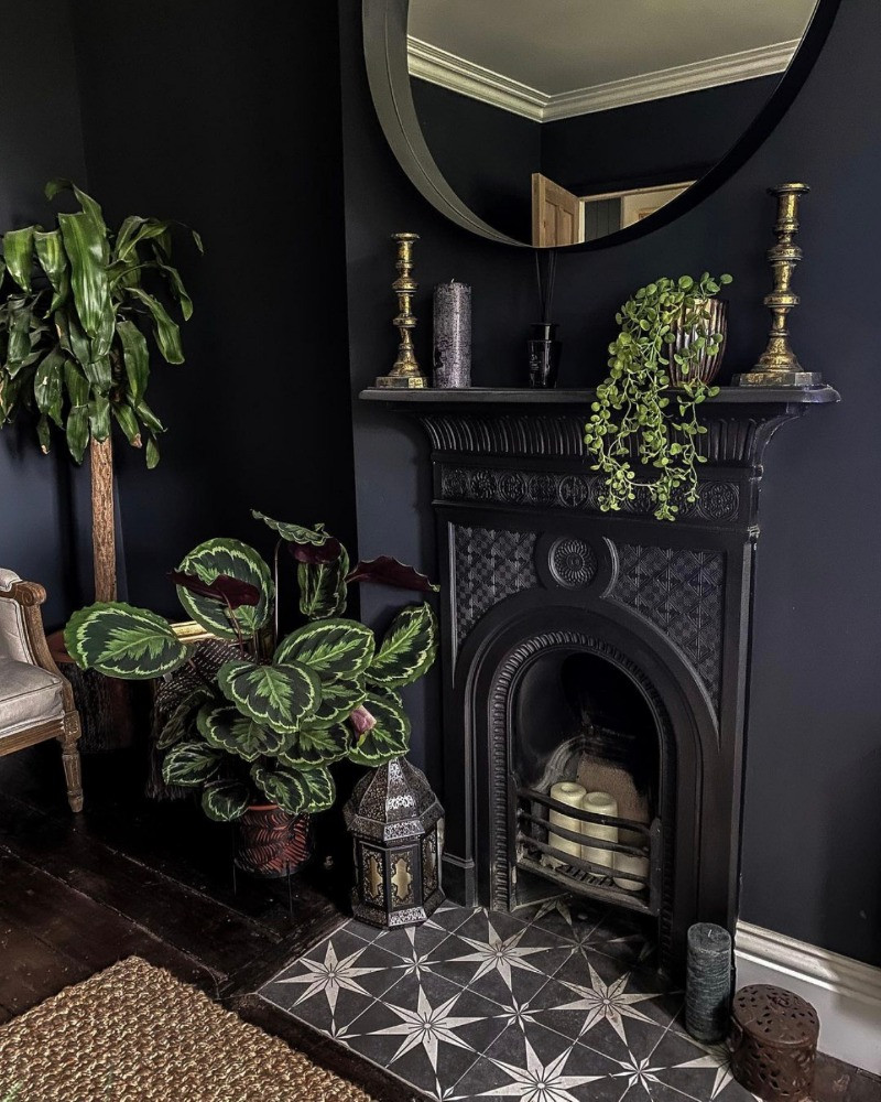 living room fireplace tiled hearth dark decor plants period features