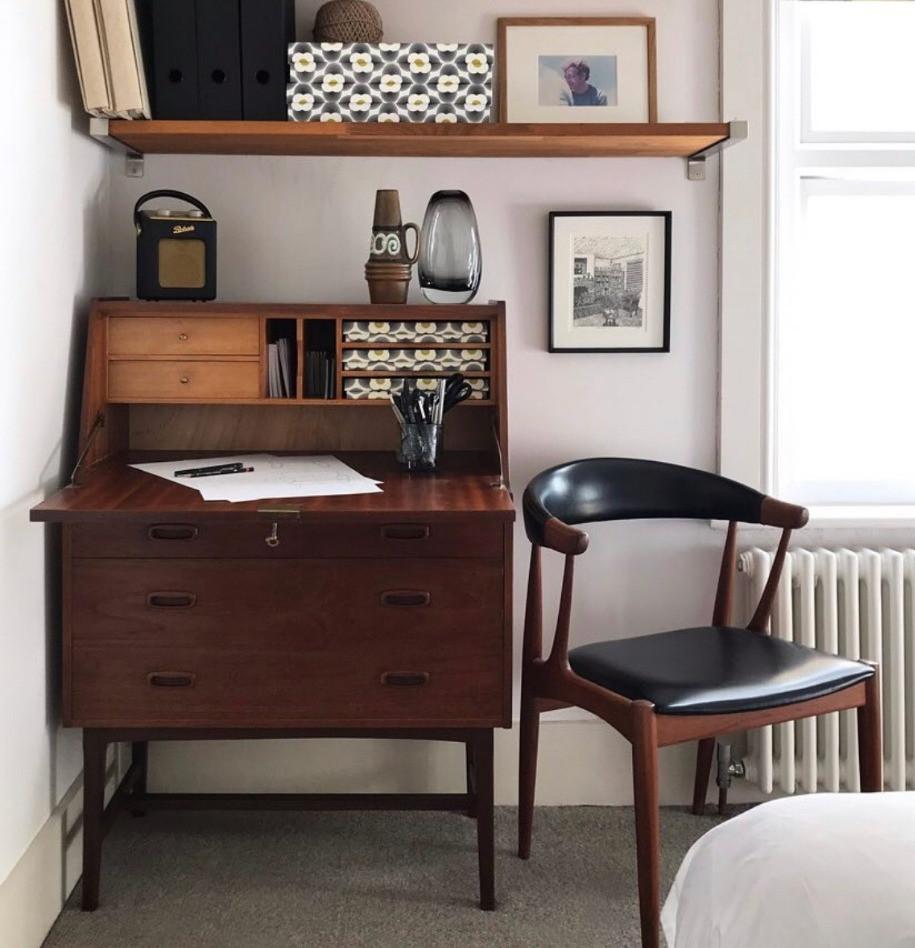 home work space vintage mid-century bureau