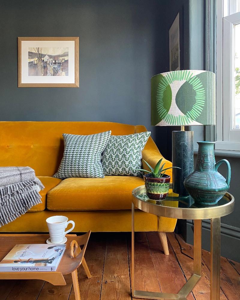 Ochre yellow velvet sofa model 2 dark decor grey sitting room mid-century modern vintage home interior inspiration