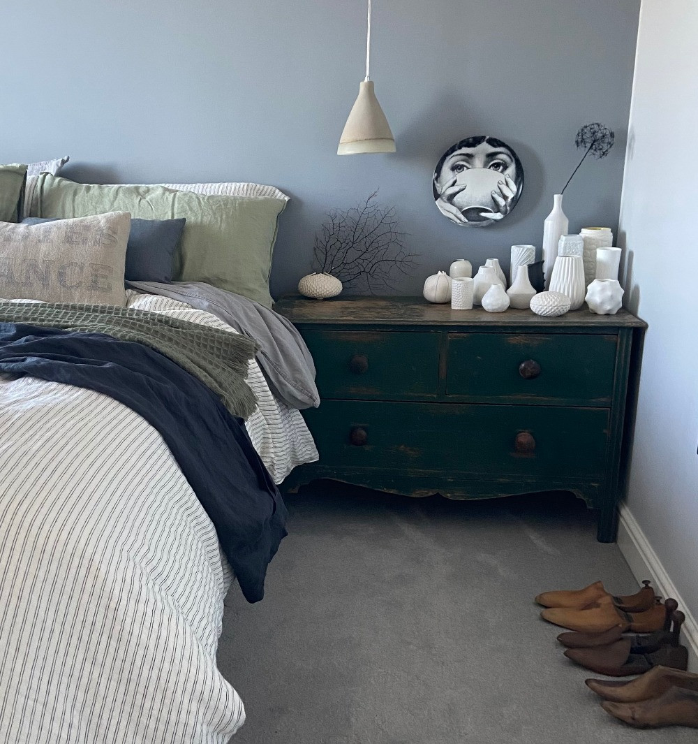 green painted vintage chest of drawers wooden shoe lasts