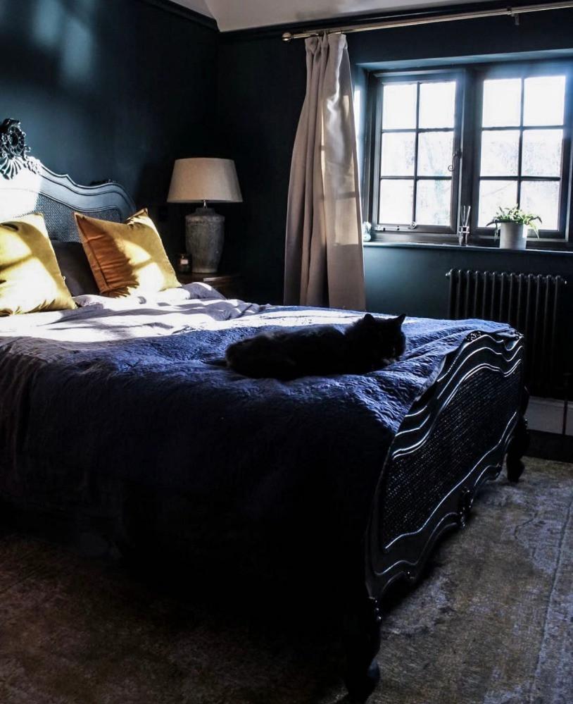 dark blue bedroom ornate bed black windows period property