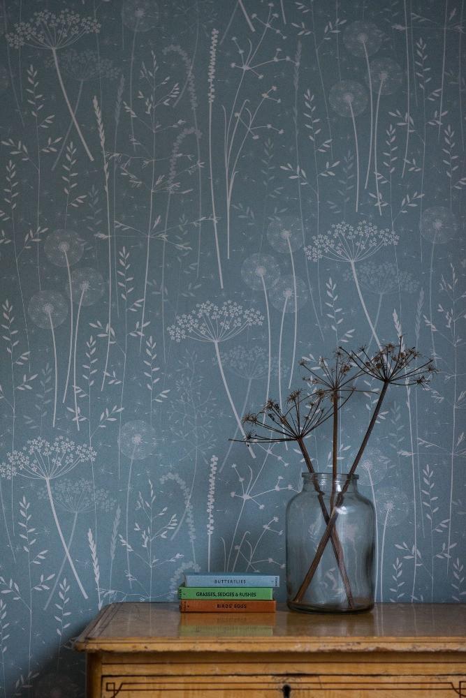 teal wallpaper delicate meadow flowers grass design
