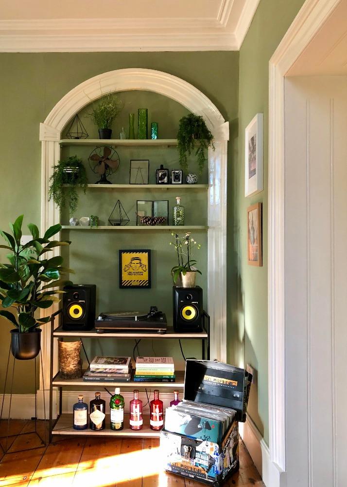 shelving green room record deck vinyl