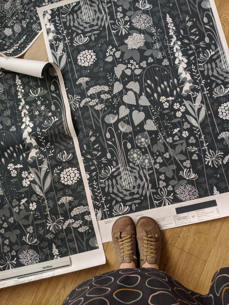hedgerow wallpaper design proofs
