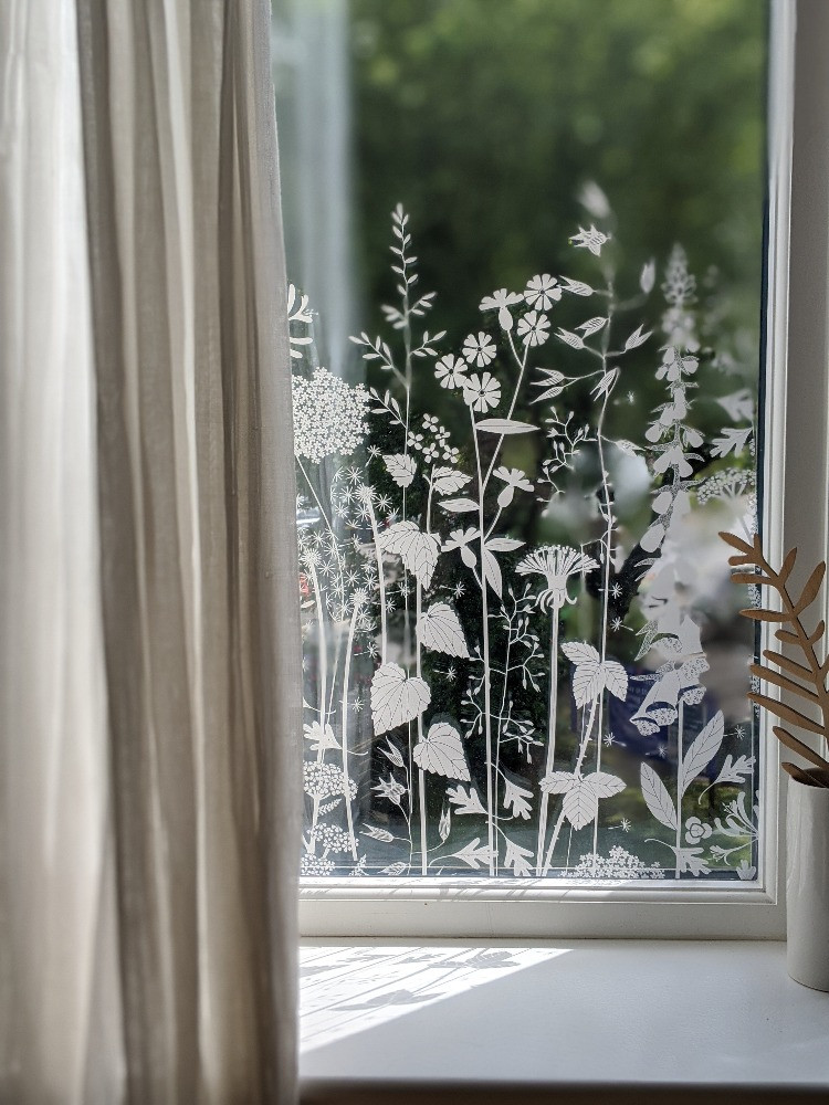 delicate grasses and flower window film