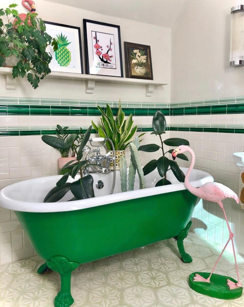 pink flamingo green bathtub metro tiles