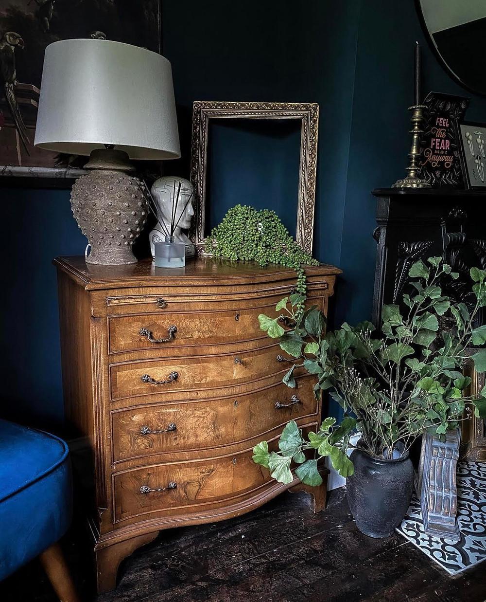dark blue decor vintage furniture sustainable decor reclaimed preloved