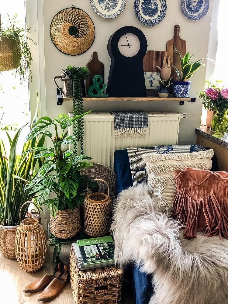 plants plates cosy chair wicker basket lanterns sheepskin