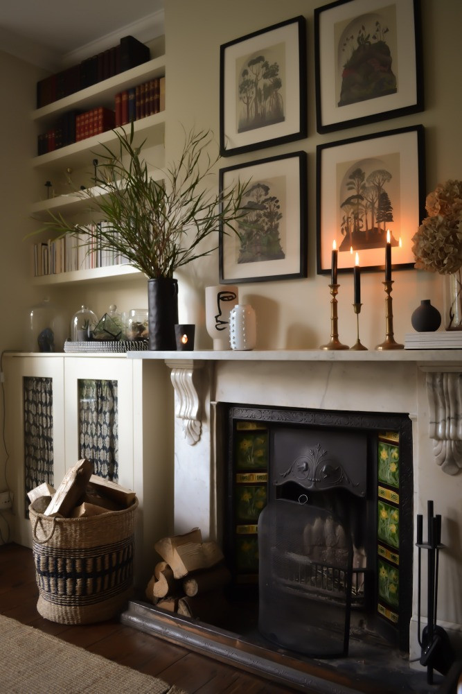 rented london flat feature fireplace neutral tone decor