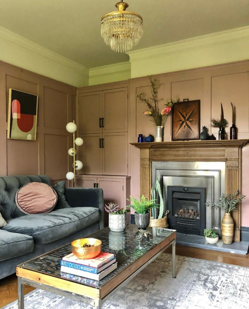 pink sitting room panelling fireplace