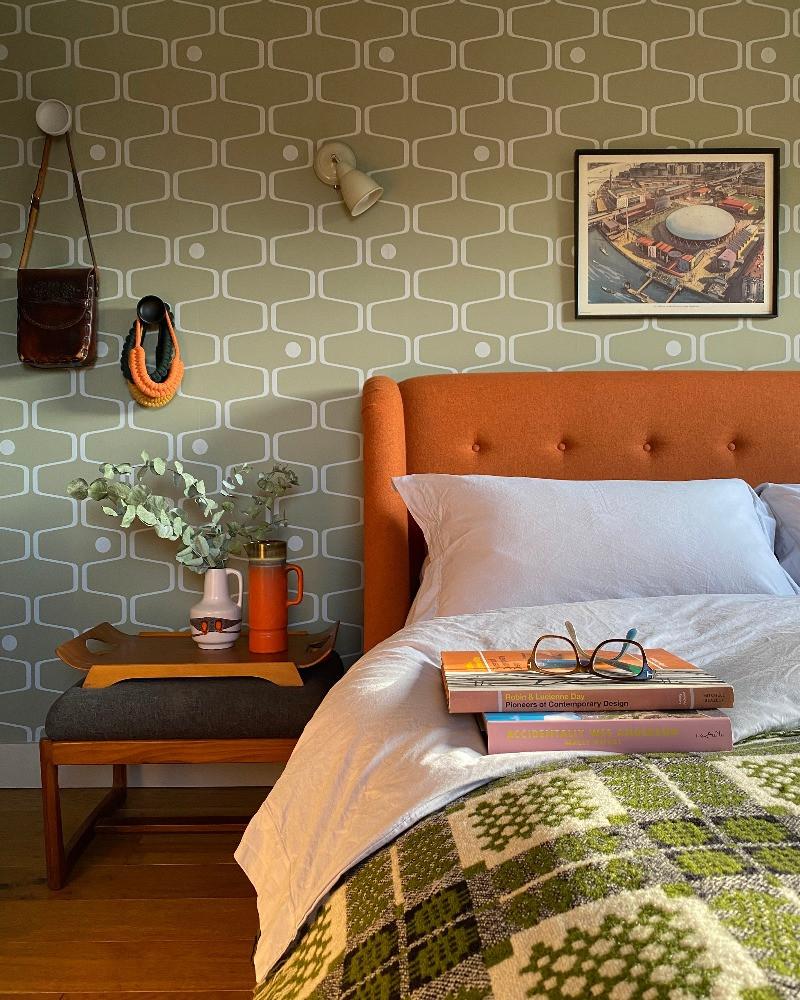 Orange wool upholstered bed mini moderns net and ball wallpaper green vintage welsh blanket mid-century modern home decor