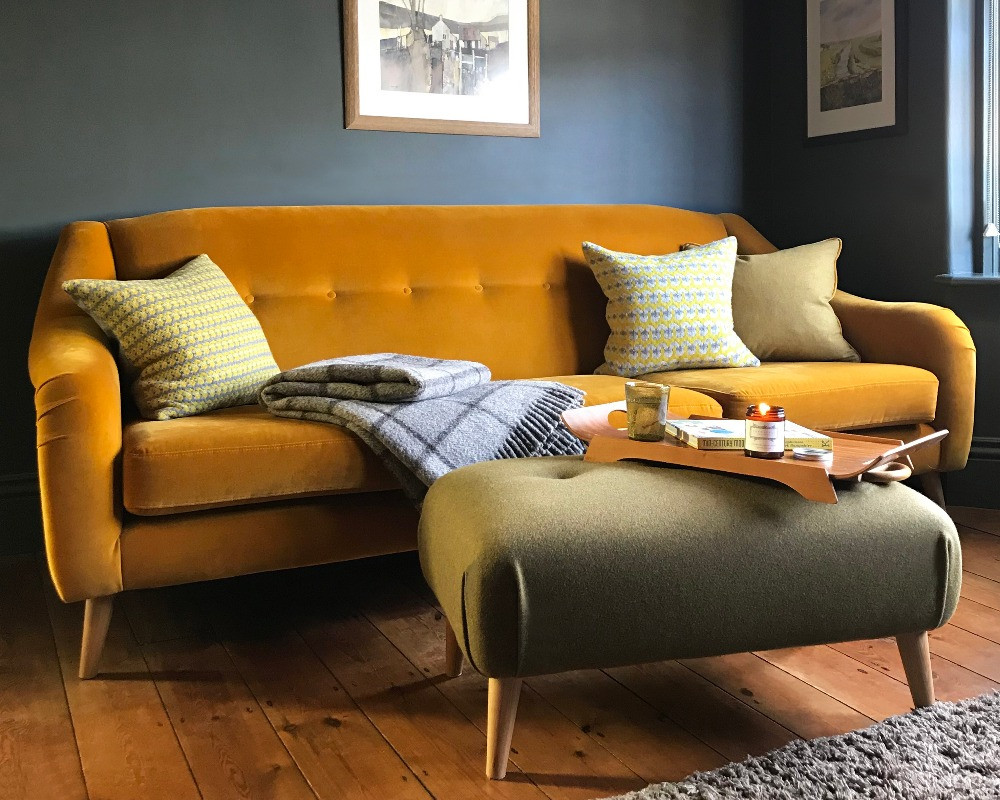 dark grey decor living room ochre yellow velvet sofa mid-century interiors inspiration