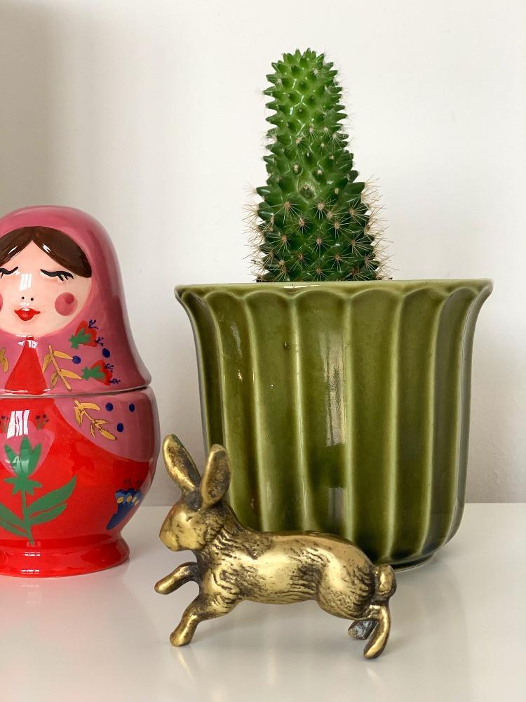 vintage brass rabbit ornament