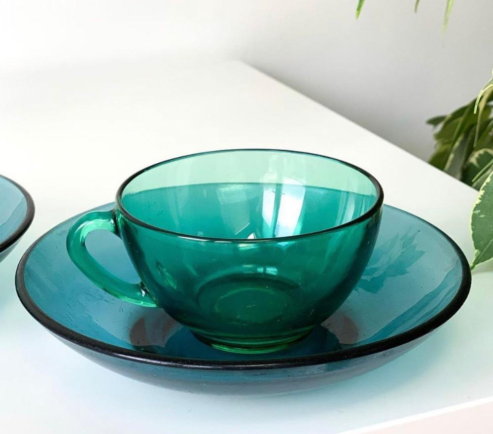 vintage green glass teacup and saucer