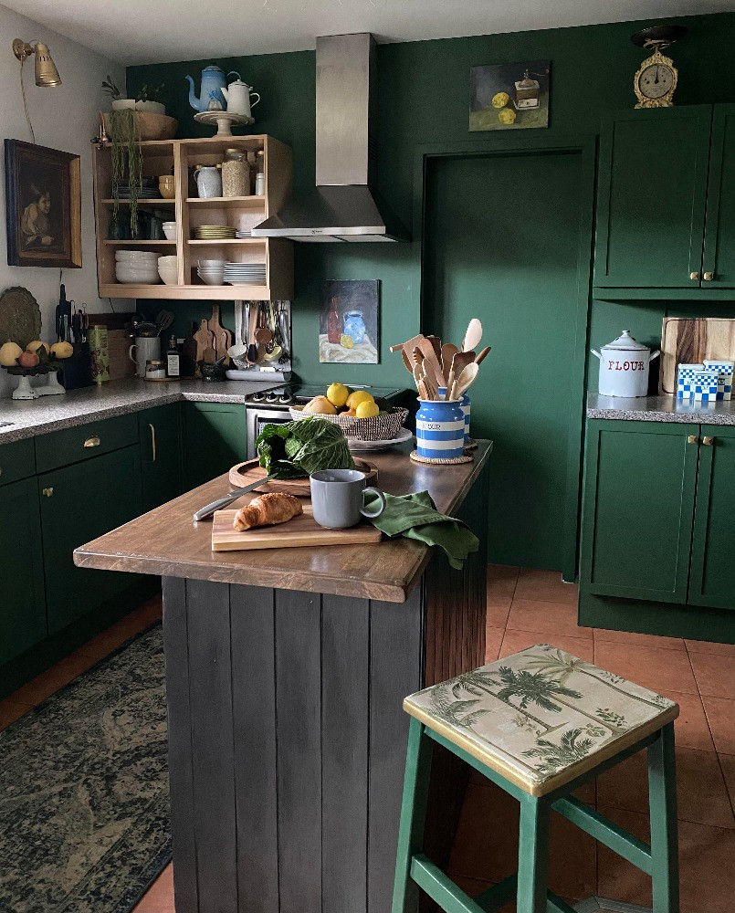 DIY decor green upcycled kitchen painted cabinets project