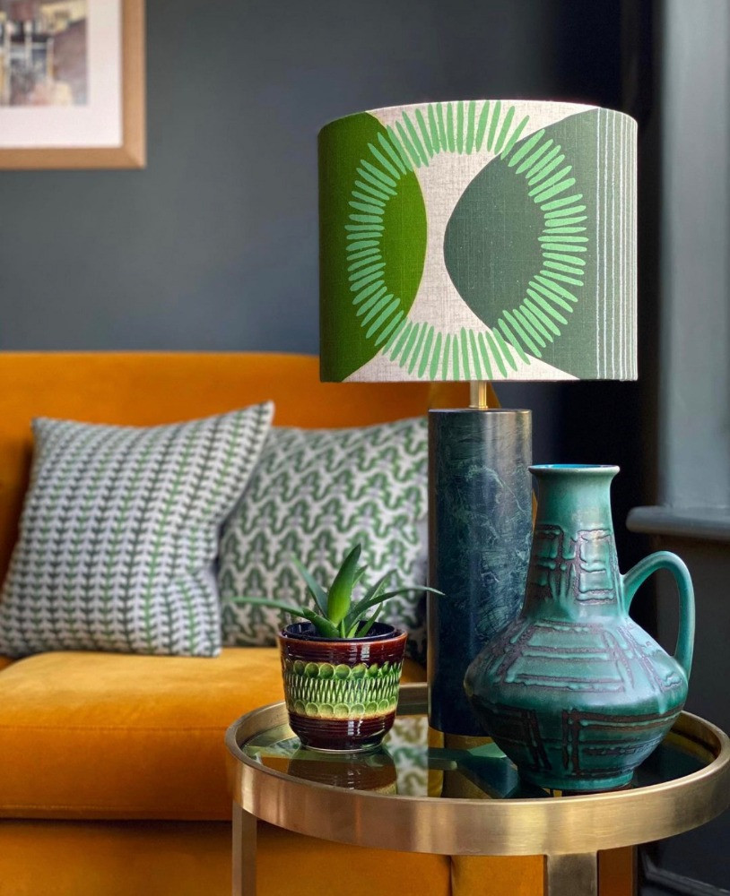 lampshade by Jane Ellison Textiles cushions by sally weatherill