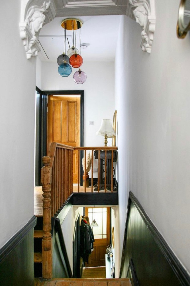 hall stairs landing period features glass chandelier