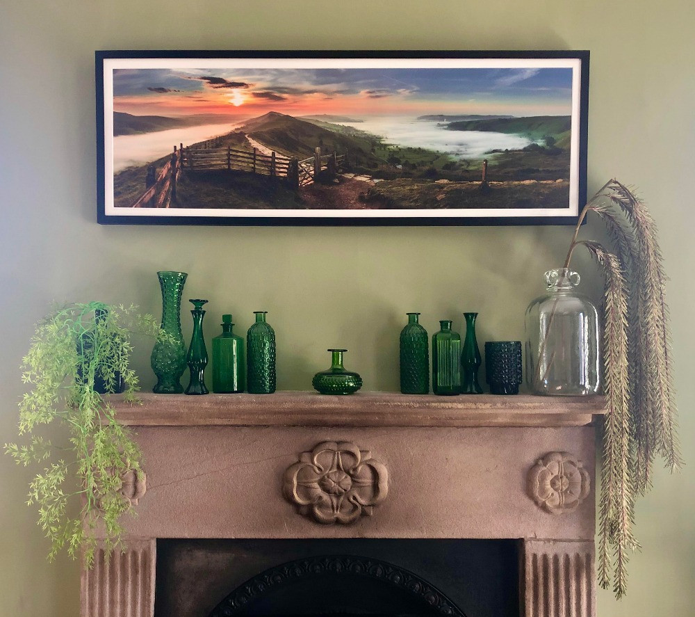 fireplace mantel decor vintage green glass bottles green walls victorian fireplace landscape photography the great ridge derbyshire hope valley edale valley