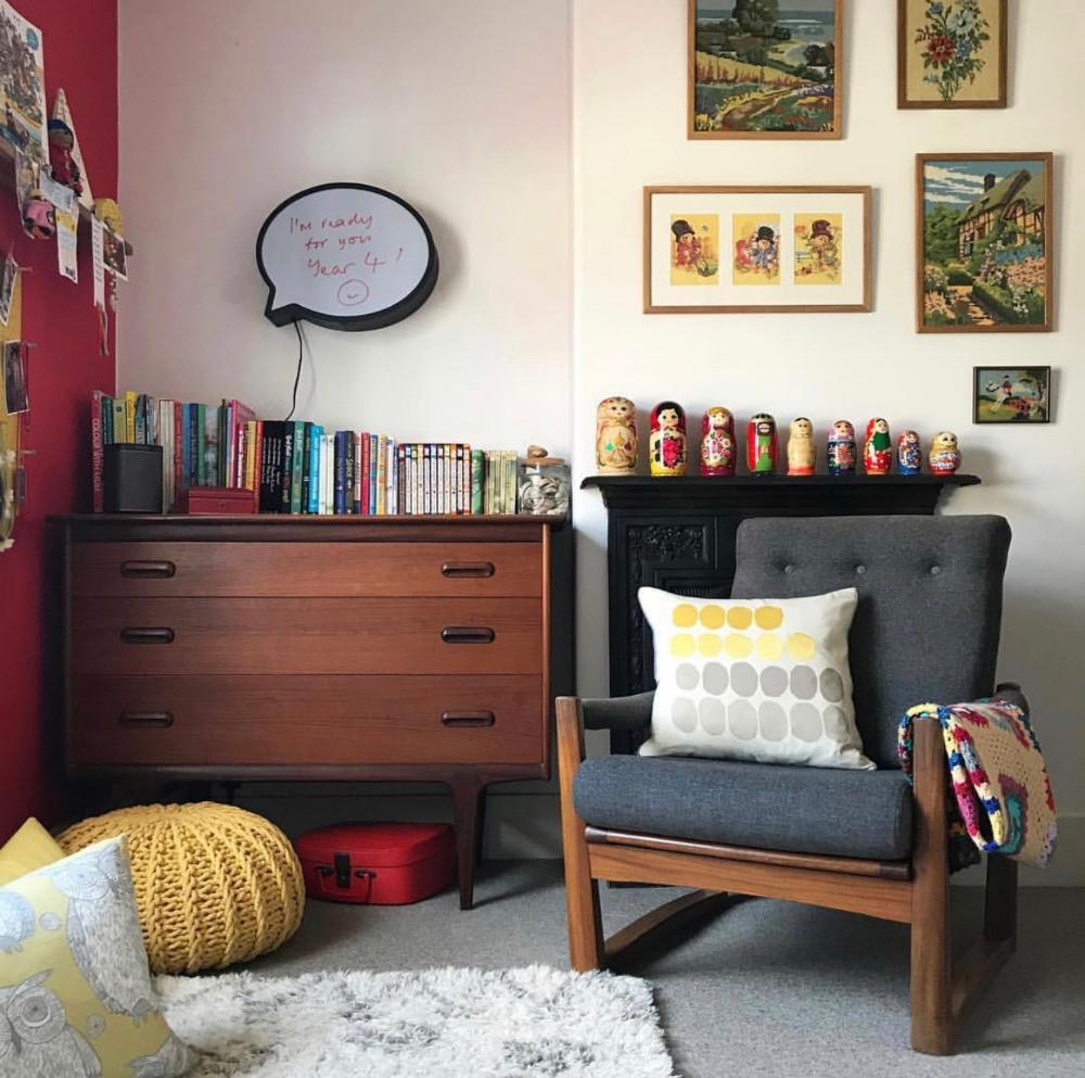 mid-century chest of drawers and armchair childs bedroom vintage artwork