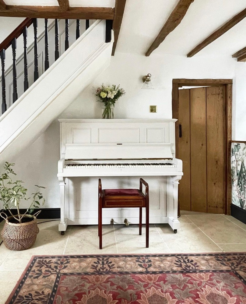 beams character property listed building hallway piano vintage rug