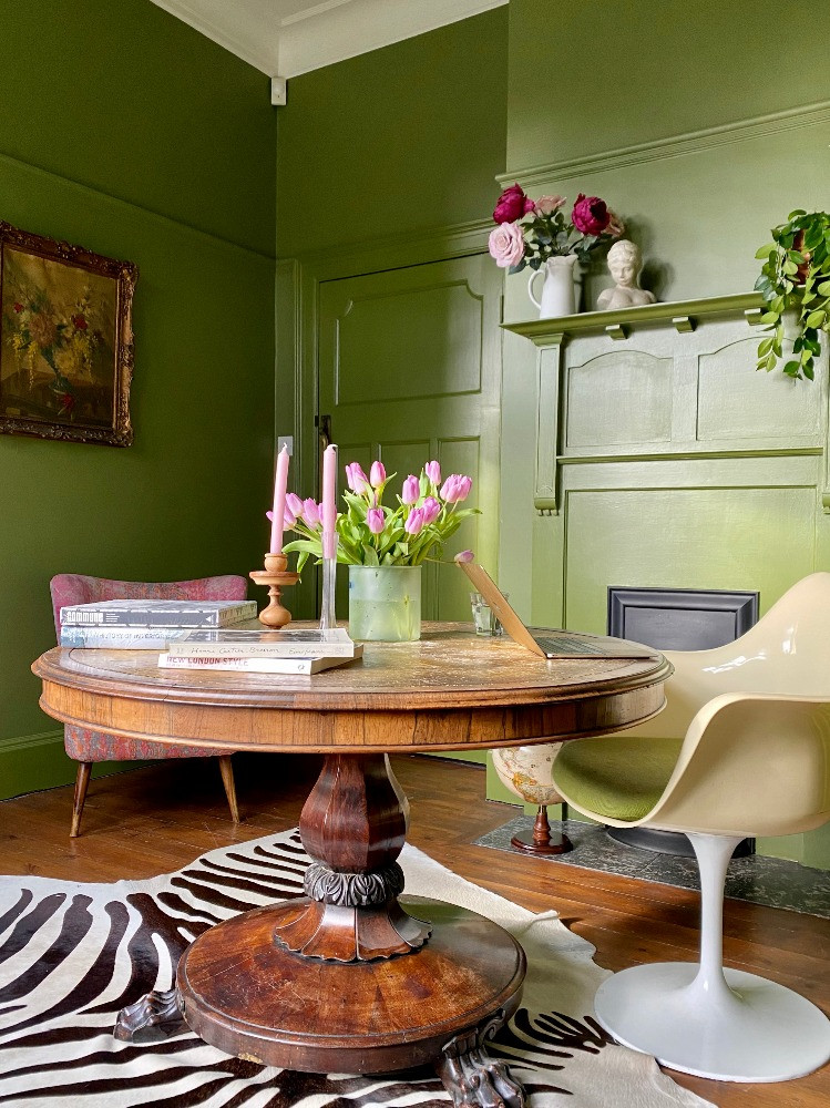 green study georgian round dining table 1960s tulip chair eclectic decot