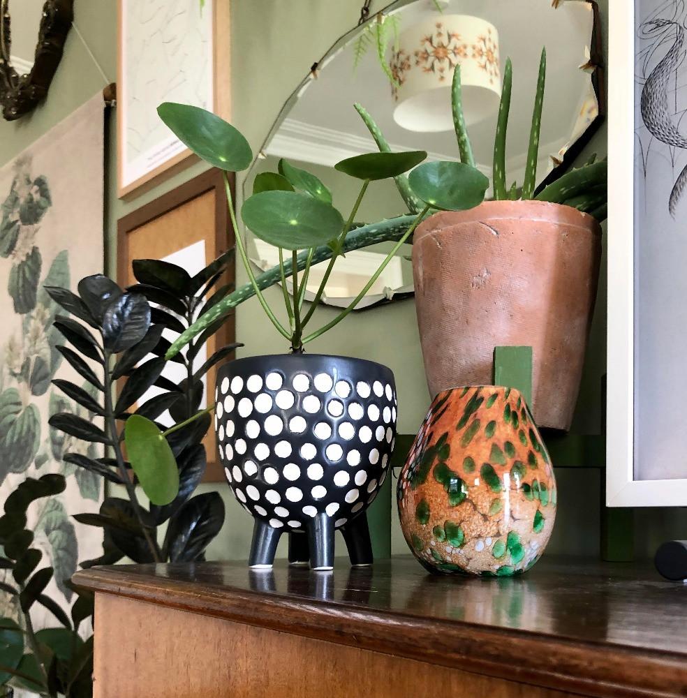 vintage orange and green vase polka dot planter vintage mirror