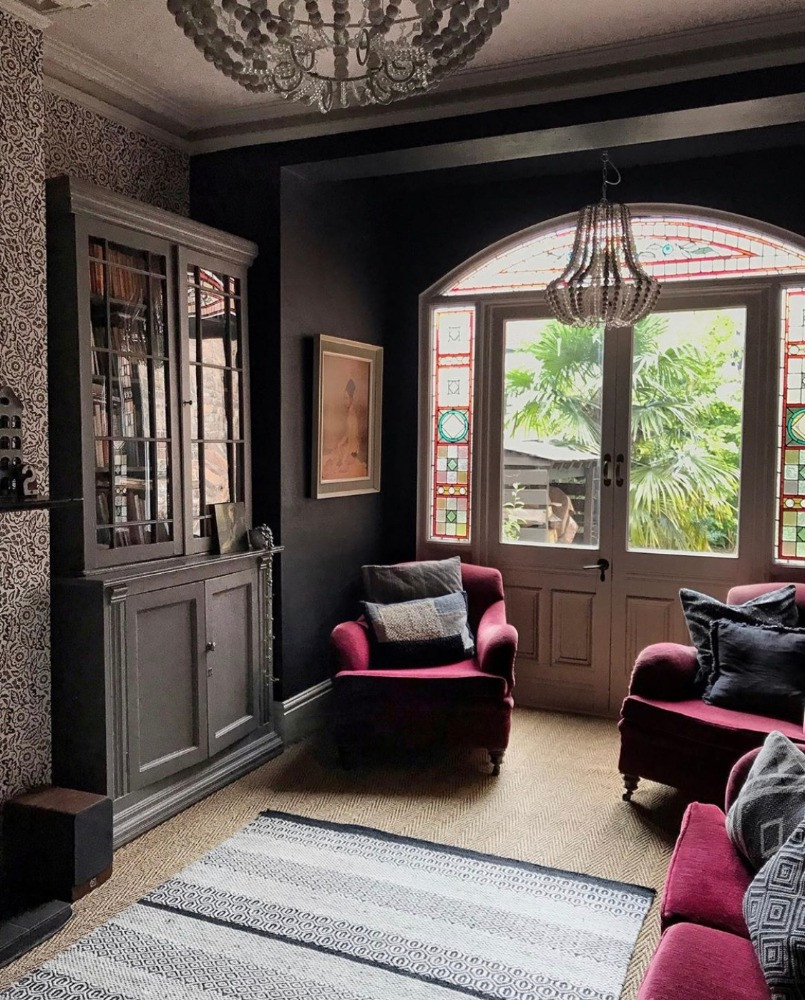 french chandlier velvet armchair reclaimed doors library bookcase