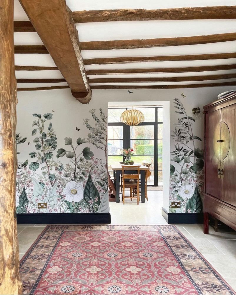 botanical mural old beams period living listed house
