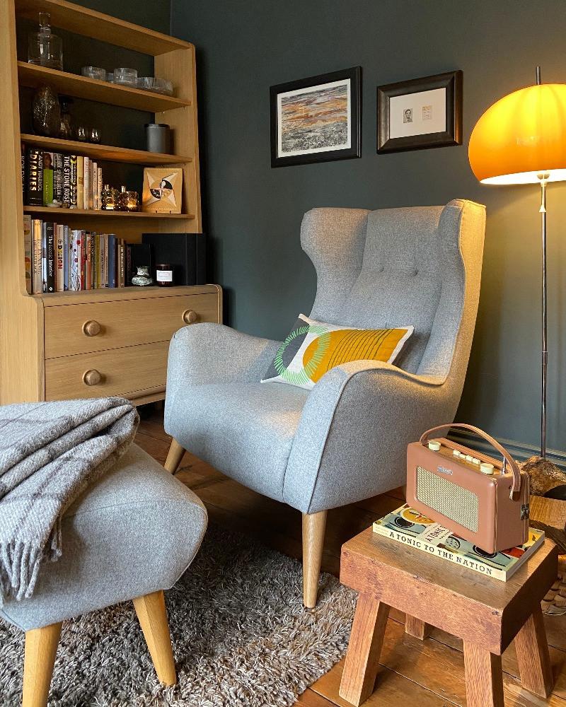 mid-century modern furniture living room Victorian house