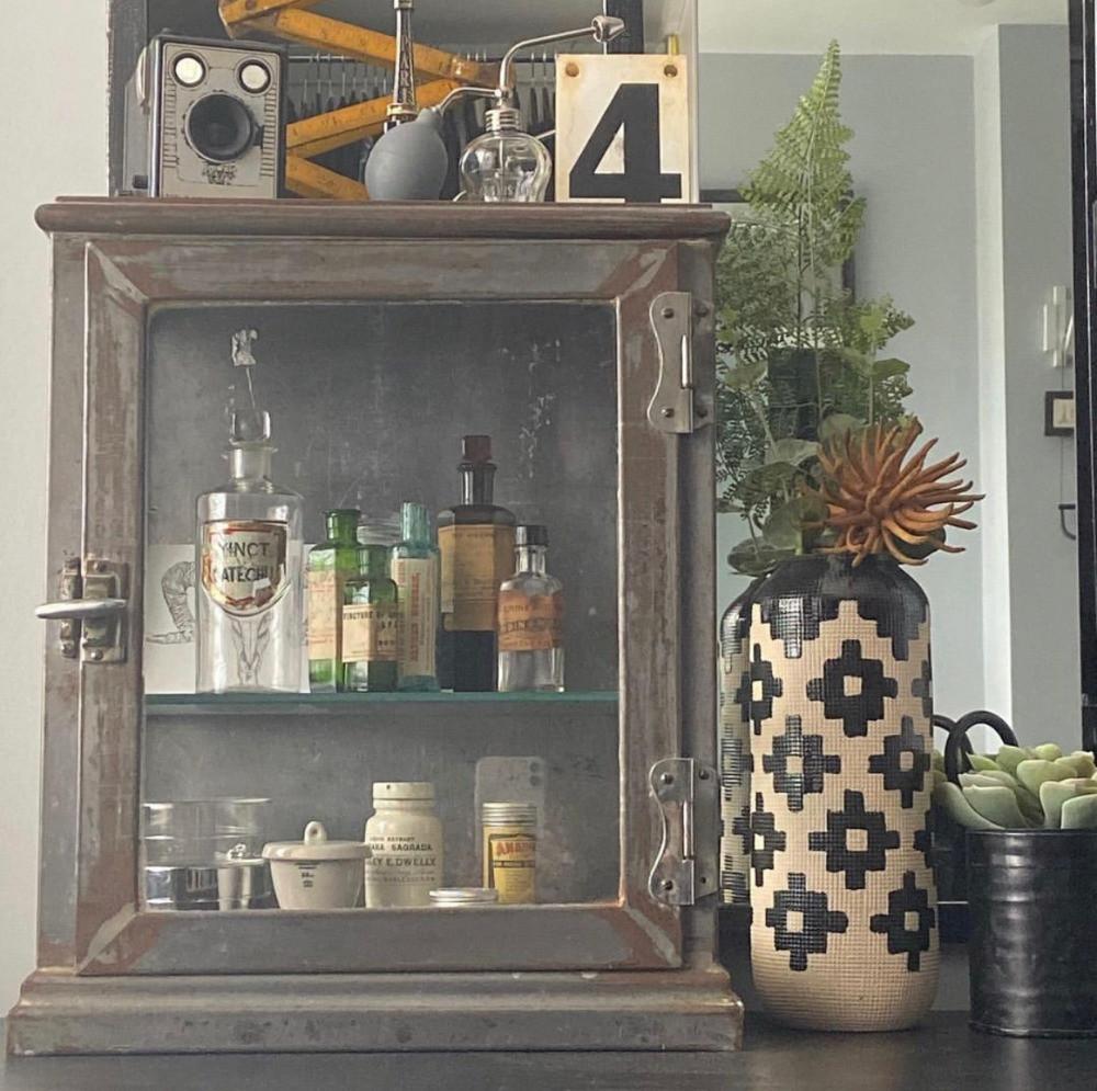 vintage glass medicine cabinet box brownie camera