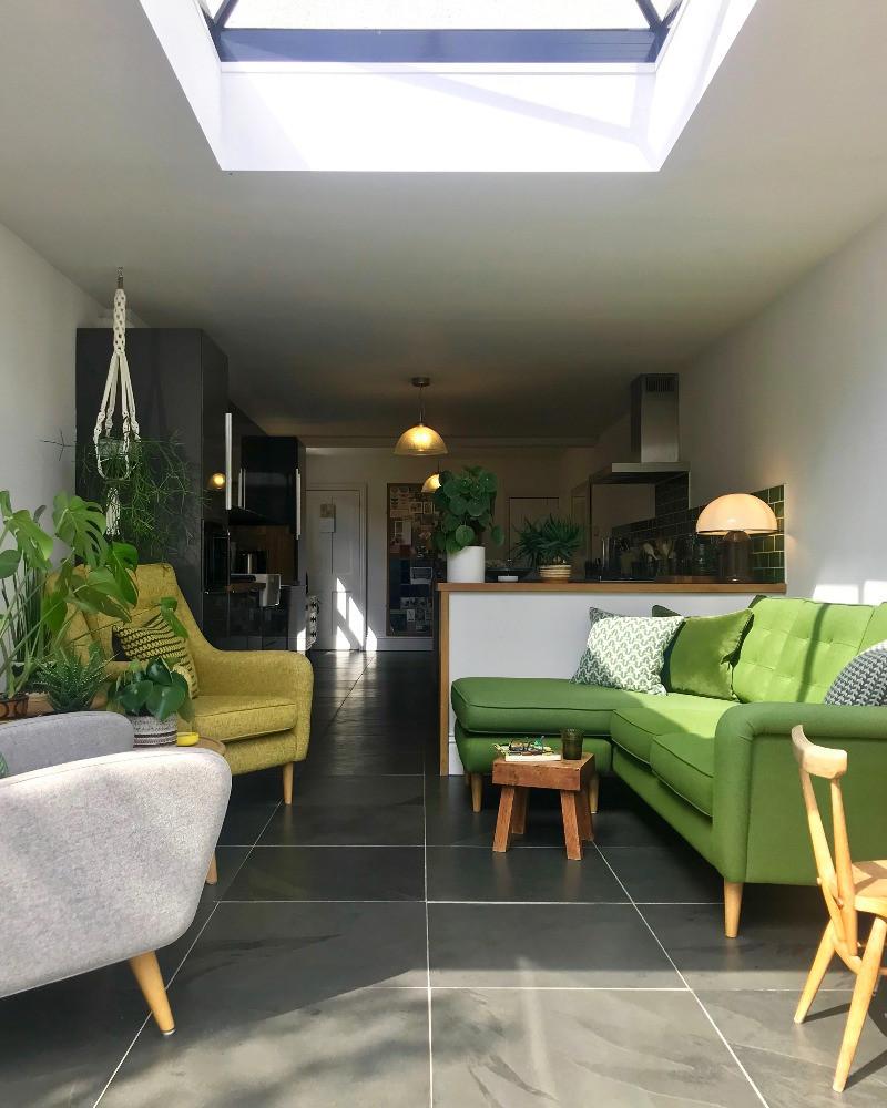 modern extension to Victorian cottage lantern sky light mid-century modern furniture