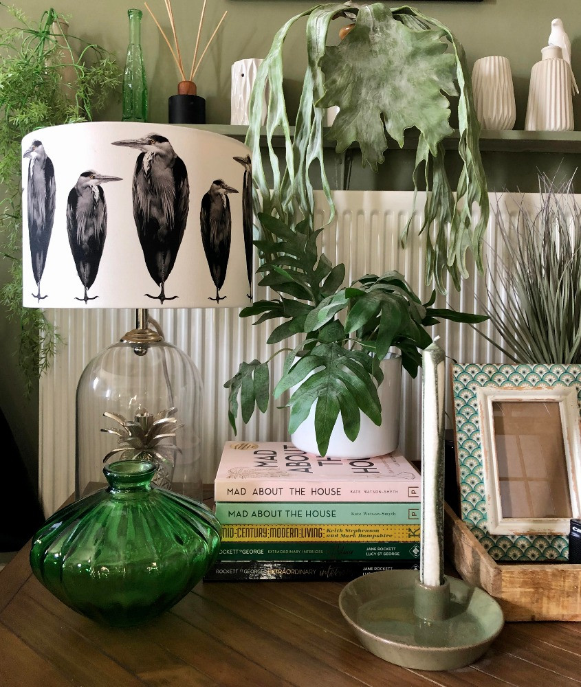 heron lampshade vintage green glass mad about the house books abigail ahern faux plants ferm living candle