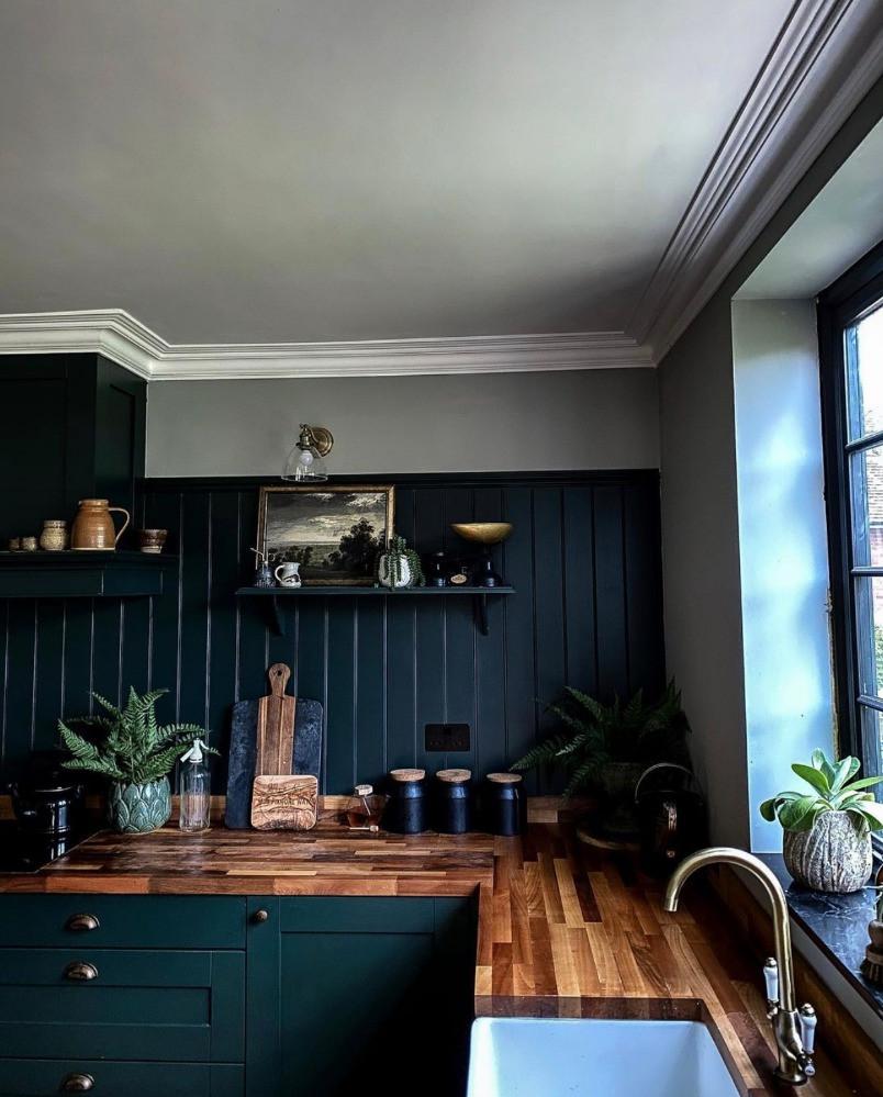 dark green kitchen belfast sink open shelving wood paneled walls