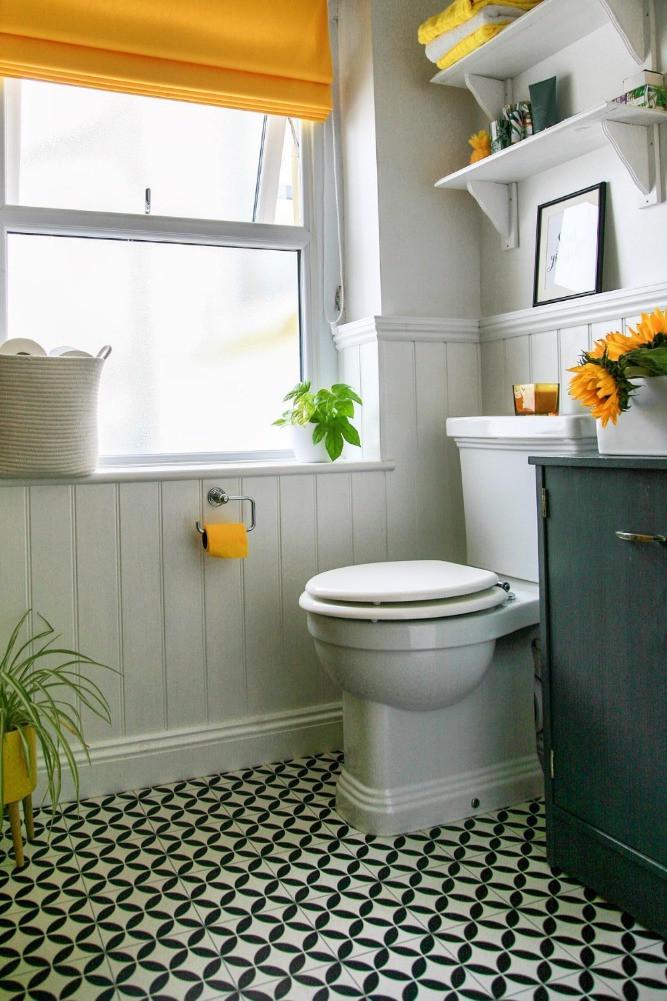 black white yellow bathroom colour pop monochrome floor yellow toilet roll
