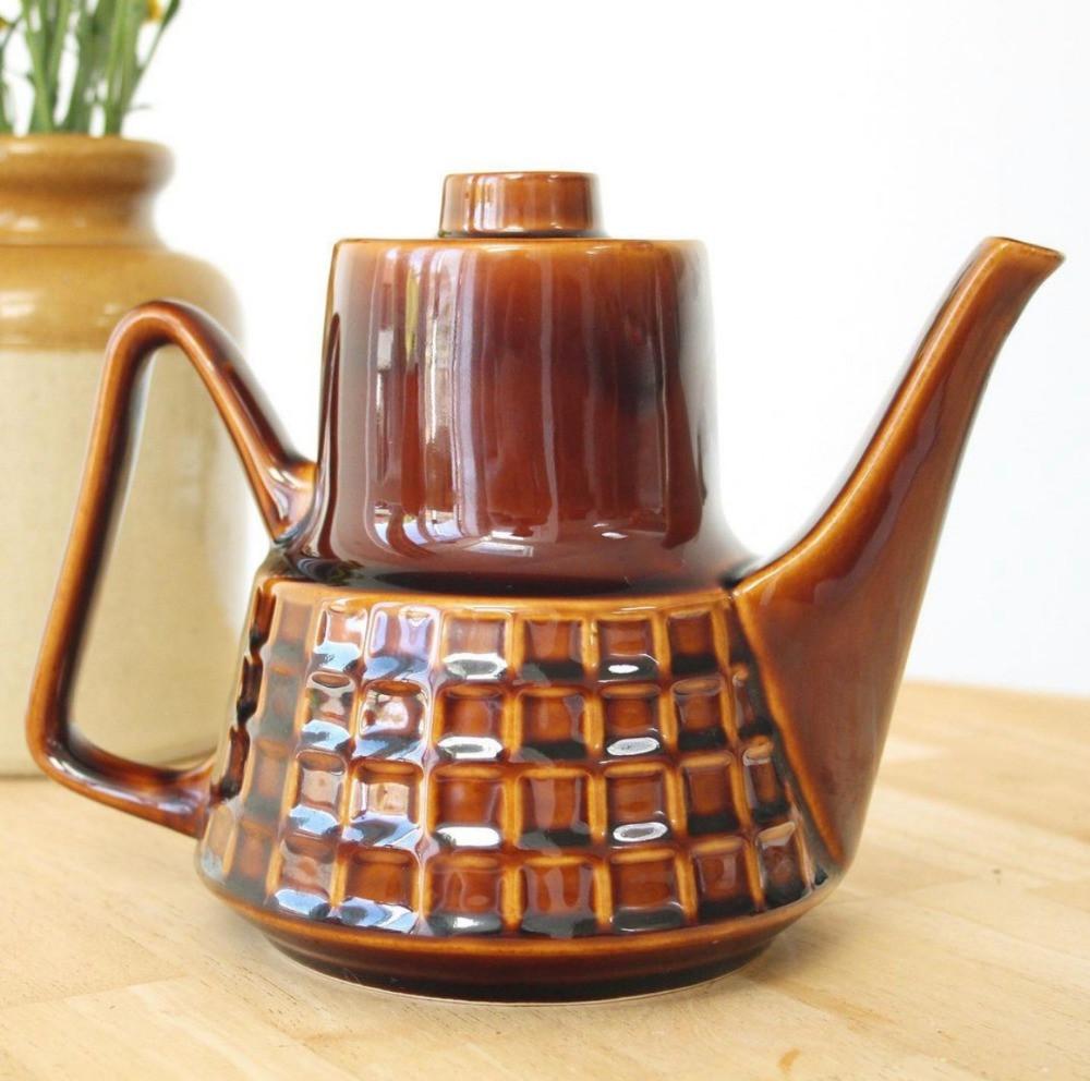 retro 1970s brown ceramic teapot