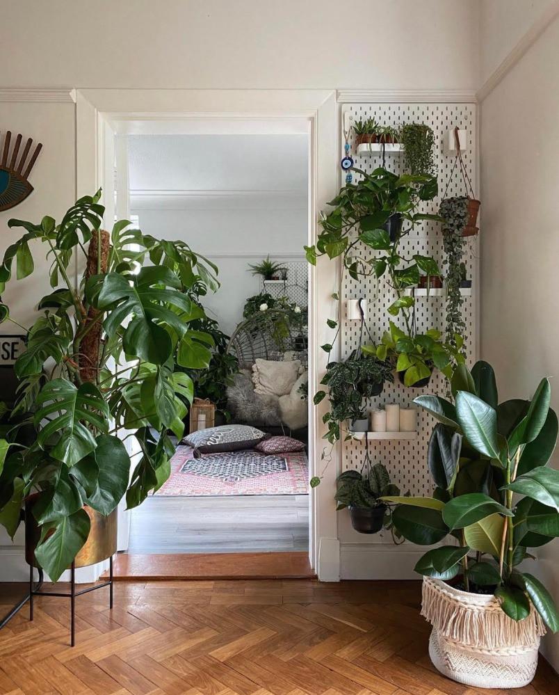 parquet flooring large plant interior jungle pegboard planter ikea
