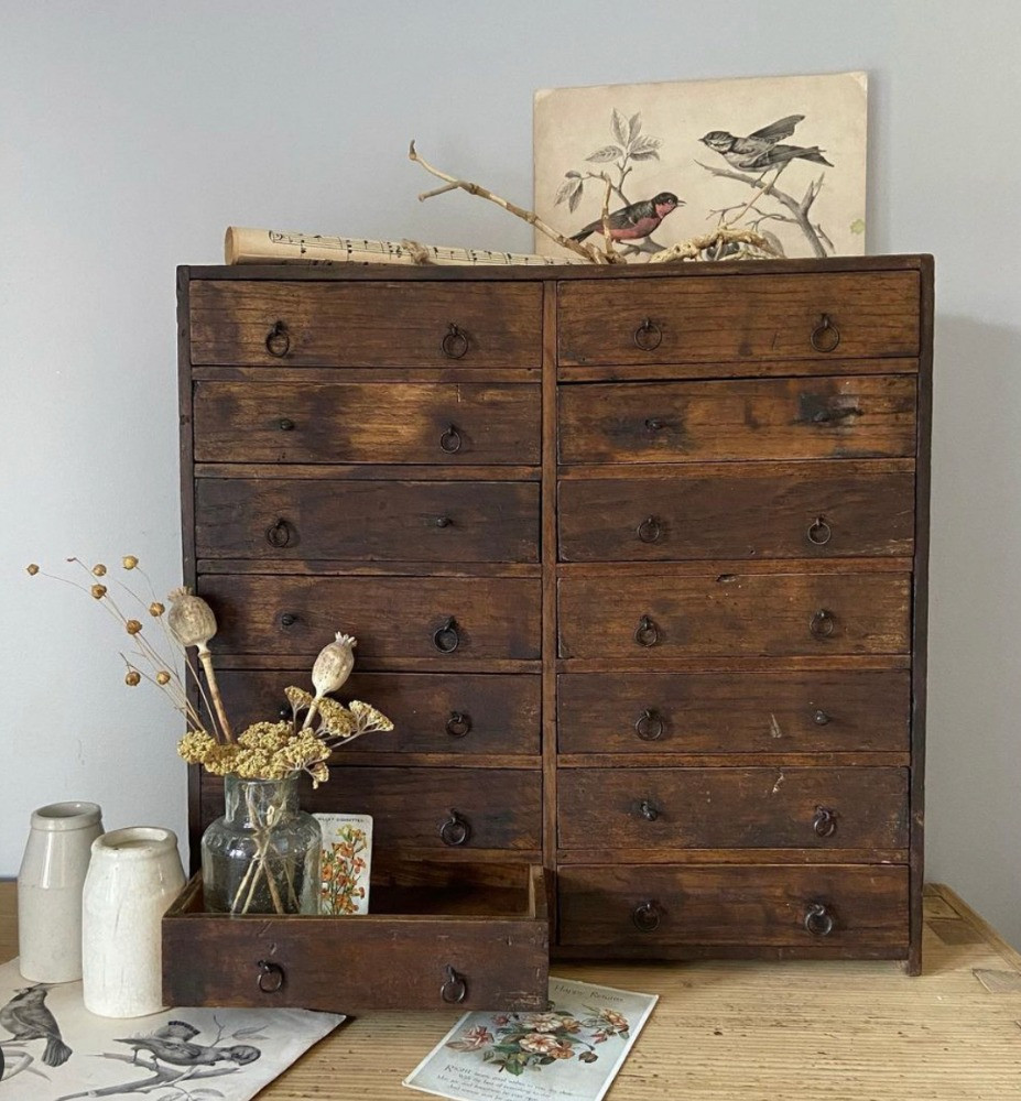 watchmakers drawers wooden cabinet small vintage drawers