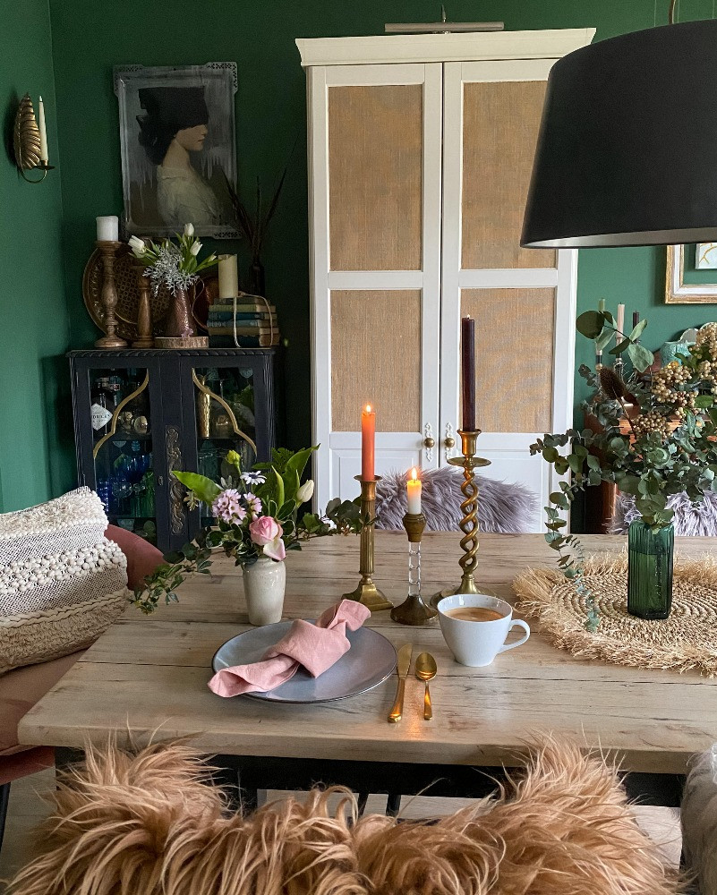 dark green dining room eclectic styling decor