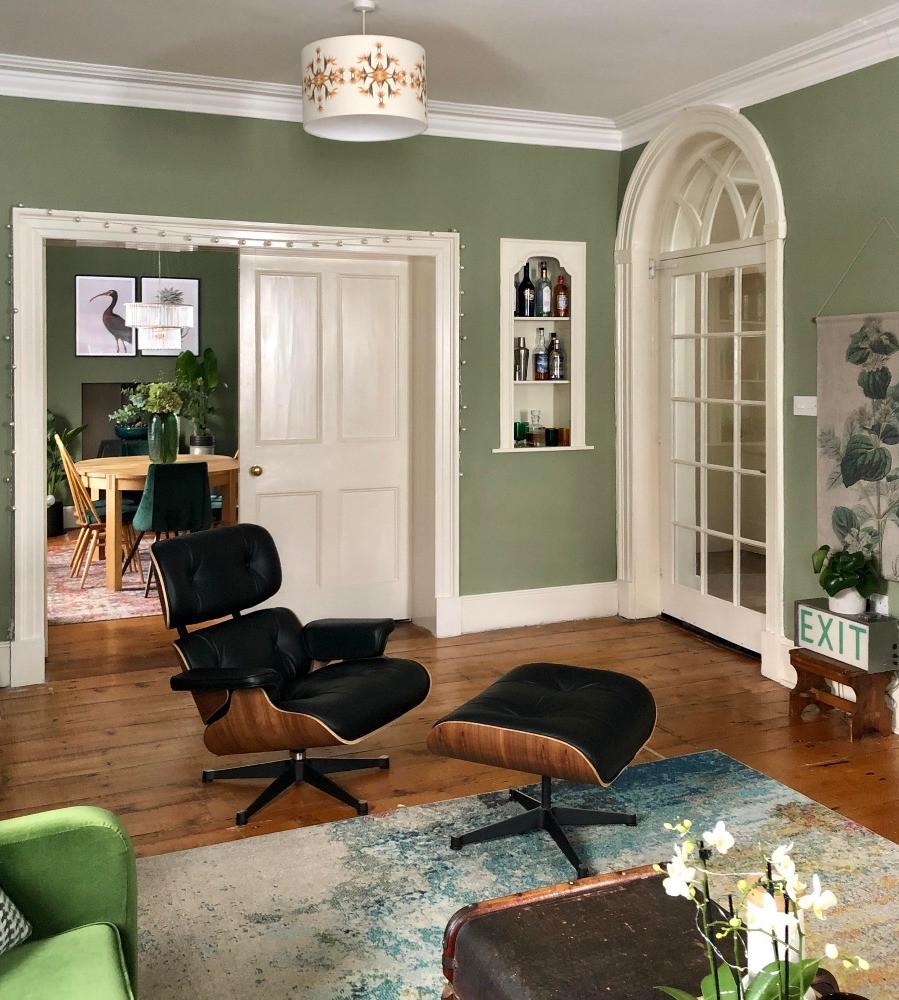 eames armchair ottoman green decor Victorian house bird of paradise lampshade