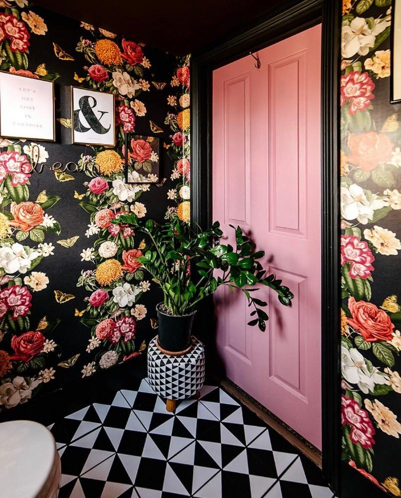 black floral wallpaper bathroom monochrome pattern floor pink door