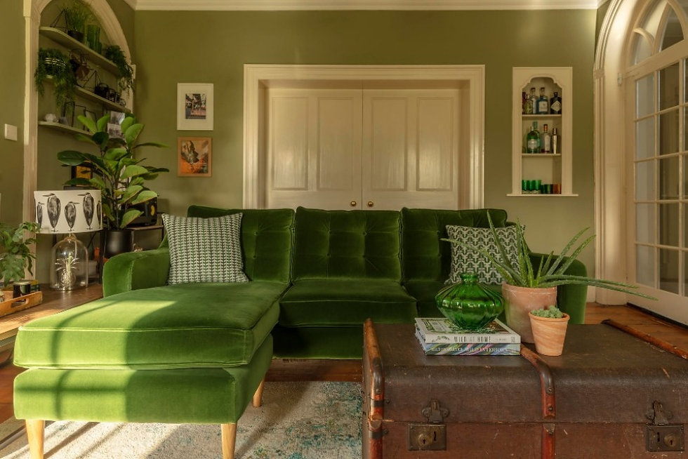 green sitting room decor