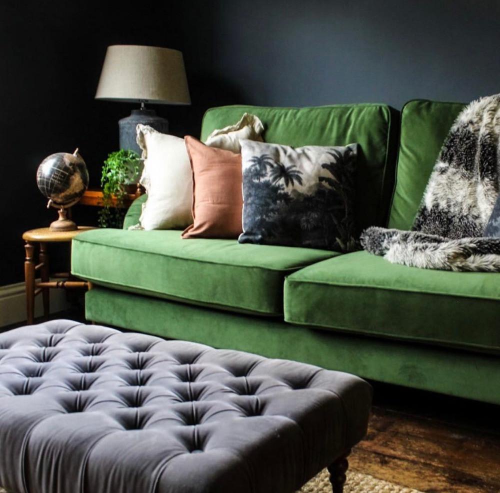 green velvet sofa dark decor button upholstery footstool living room sitting room