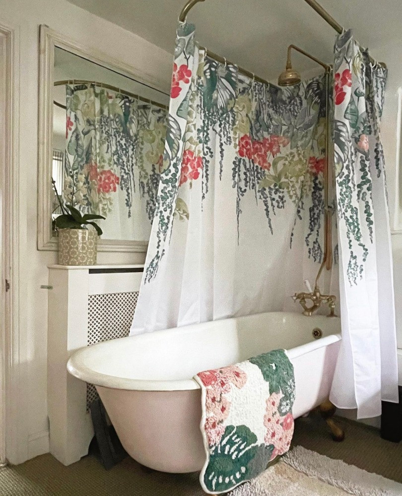 pink roll top bath floral shower curtain period property