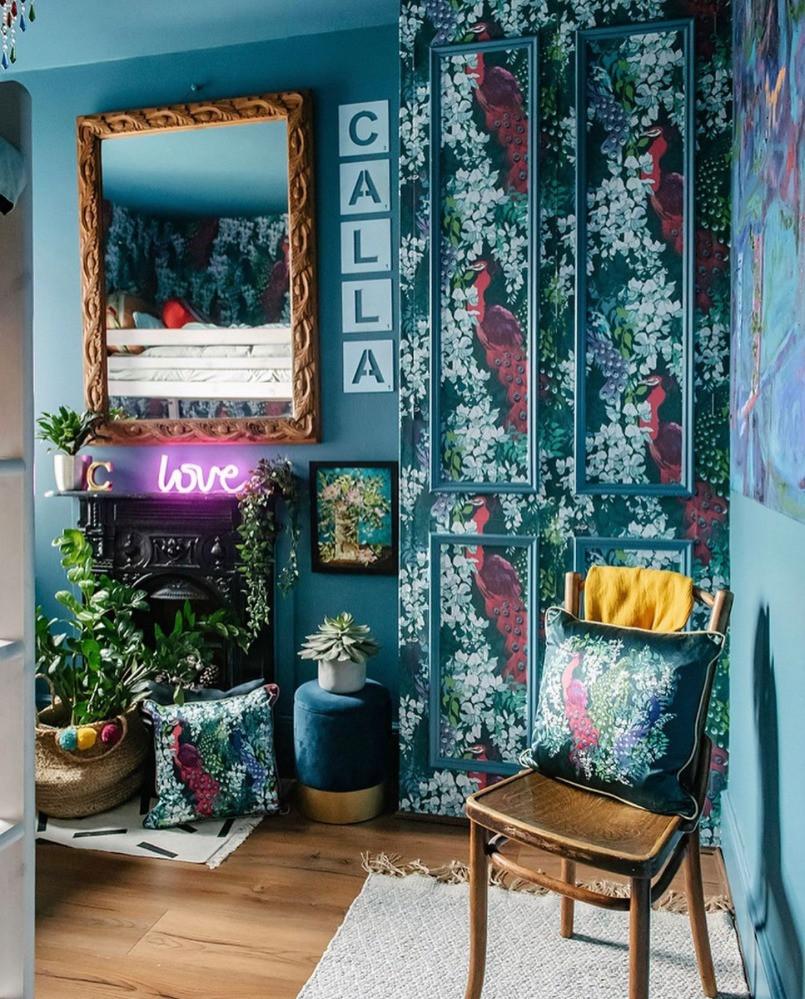 blue bedroom bold wallpaper pattern neo light eclectic interiors