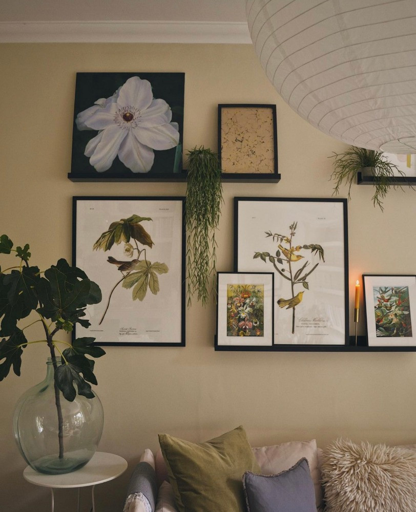 picture shelves gallery wall botanical prints neutral tones