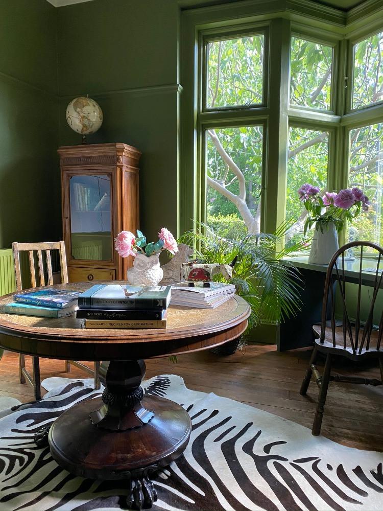 green study work space zebra print rug period interiors inspirtion