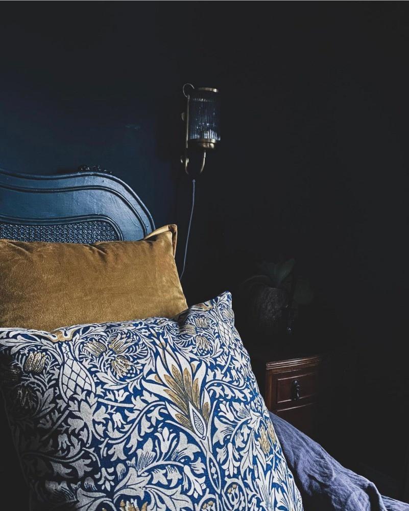 decorative details cushions dark blue decor william morris