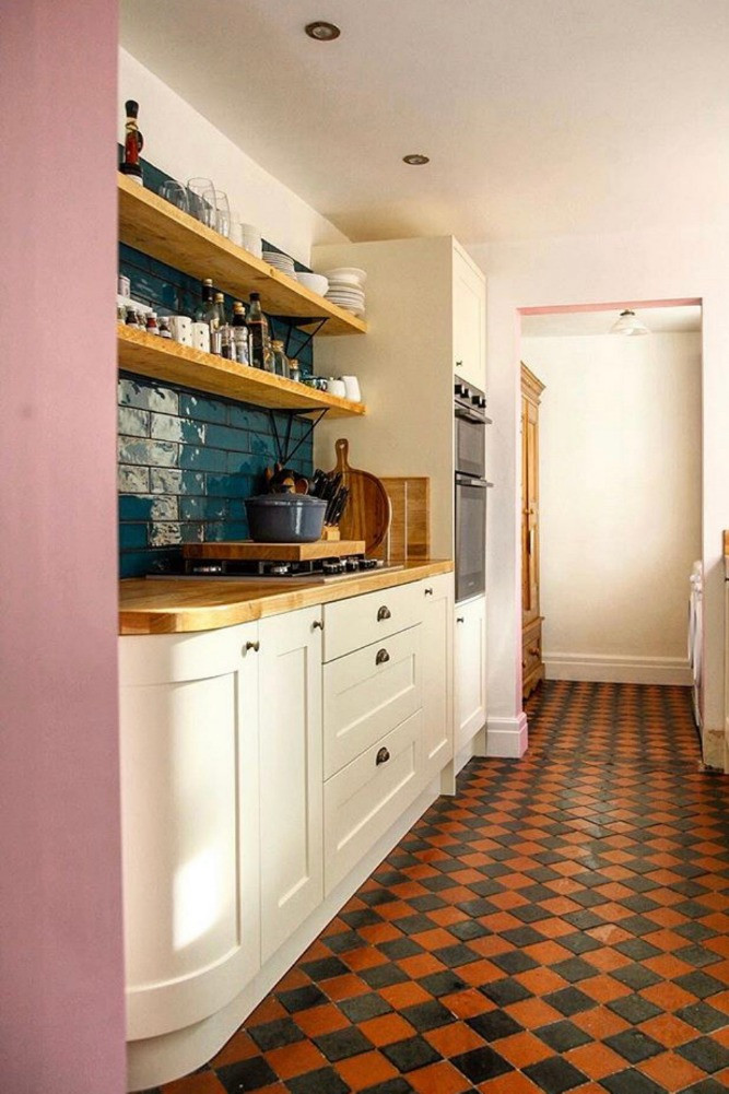 Victorian red and black tiled floor kitchen period home