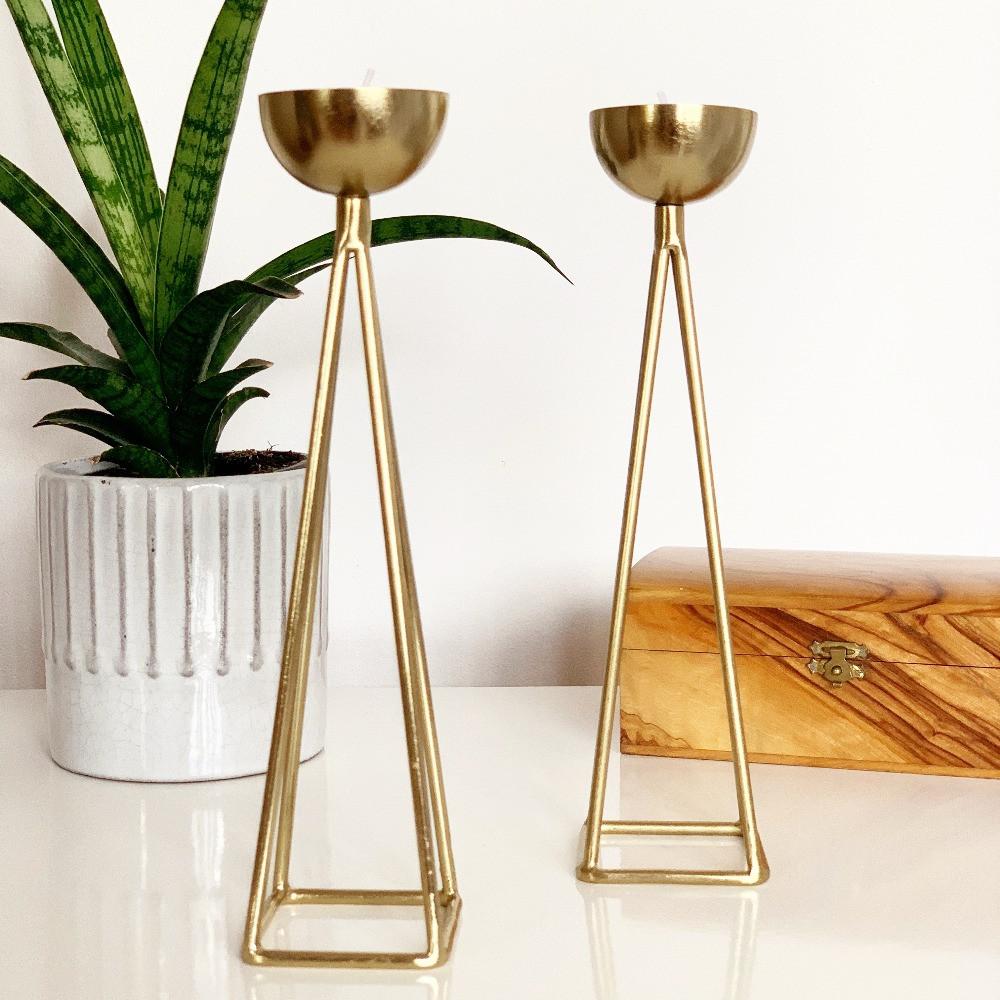 vintage gold candle stick holders